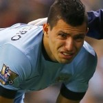 Aguero is reduced to tears after jarring his knee in  a clash with Everton's Besic
