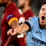 Samir Nasri wheel away to celebrate after opening the scoring with a screamer against Roma on Wednesday night