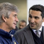 Pellegrini is pictured here with City's billionaire owner Khaldoon Al Mubarak