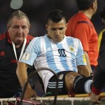 Argentina forward Sergio Aguero is stretchered off during his side's FIFA World Cup Qualifier against Ecuador