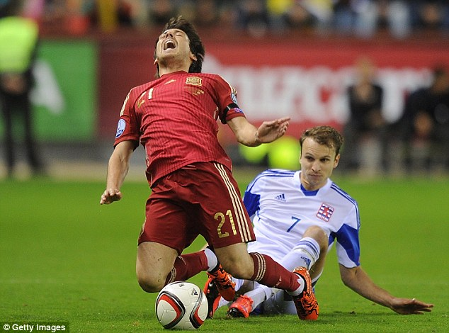 Spain midfielder David Silva was another player who had to substituted, this time during a UEFA Euro Qualifier against Luxembourg