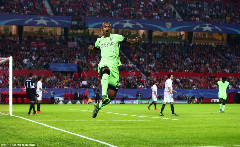 Fernandinho celebrates after doubling City's lead soon after Sterling got the proceedings under way